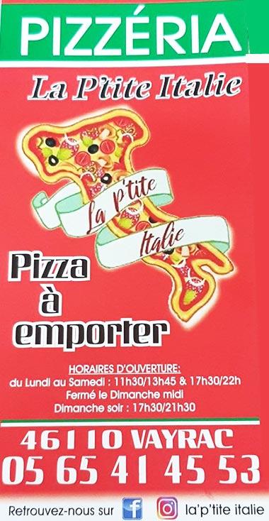 Pizzas à emporter ou sur place à Vayrac | La P'tite Italie